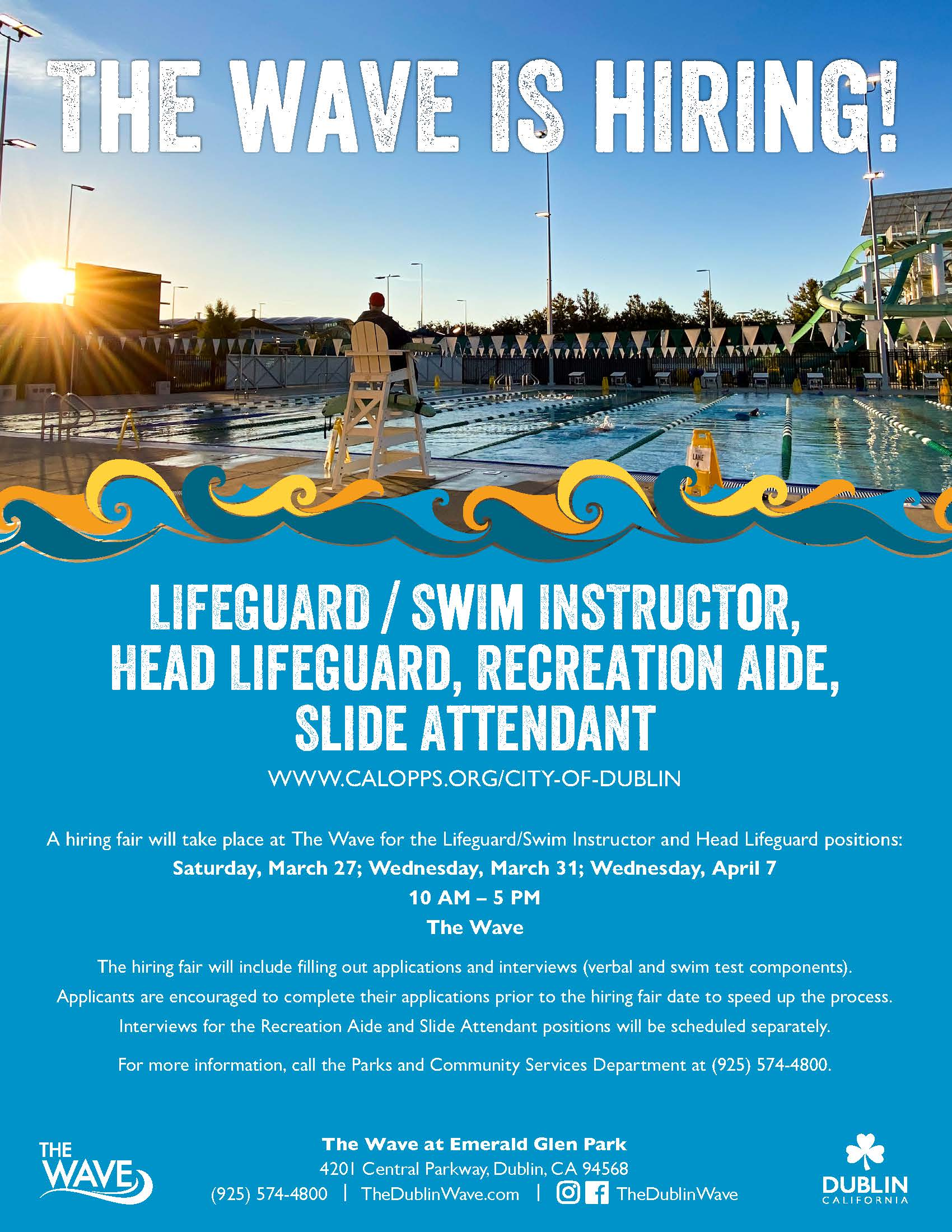 Lifeguard watching the pool, advertising The Wave Hiring Fair on March 27, 31, and April 7.